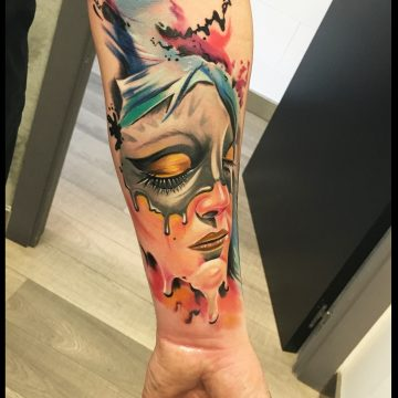 Tattoo ManoloStyle rostro color antebrazo